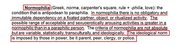 Normofilia (greka, norma, zasada + -filia, miłość)